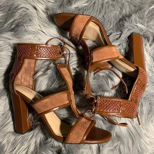 Gianni Bini Meeah T-Strap Block Heel Brown Sandal